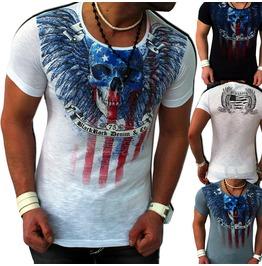 Black/White/Grey American Skull Print T Shirt