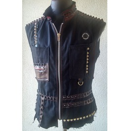 Italiano Couture Spiked Rocker Denim Vest Black And Red