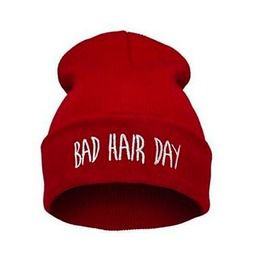 37b0e945f03 Awesome Deep Red Bad Hair Day Beanie Hat White Embroidered Lettering