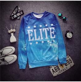 Light Blue Women/Men Hoodies Galaxy Elite Letter Star Print 3d Sweatshirt