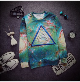 2015 Autumn Winter Women/Men Print Pullover Galaxy Triangle Mustache 001