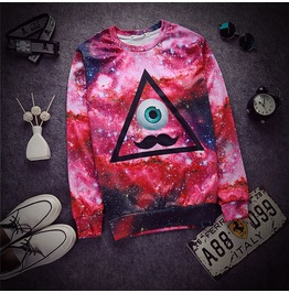 2015 Autumn Winter Women/Men Print Pullover Galaxy Triangle Mustache 003