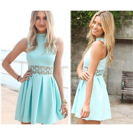 Hot Summer 2015 Fashion Women Lace Stitching Round Neck Sleeveless Waist
