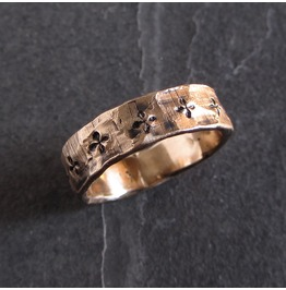 Rustic Bronze Ring With Small Cross Motif