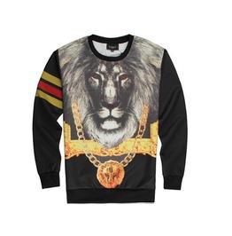 Lion Printed Ribbon Fashion Men Sweatshirt