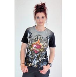 Woman's Burning Heart T Shirt (Unisex)