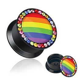 Rainbow Multi Color Gemmed Rim Screw Fit Flat Flared Acrylic Stash Plug 2 Ga