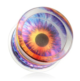 Eyeball Print Encased Clear Acrylic Saddle Fit Plug Pair 00 Ga