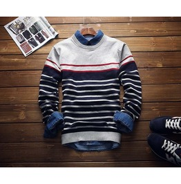 Fashion Autumn Winter Mens Patchwork Sweaters Casual Slim Fit O Neck Long