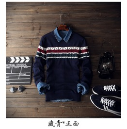 New Autumn Winter Mens Patchwork Sweaters Casual Slim Fit O Neck Long