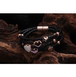 18 K Rose / White Gold Gp Austrian Crystal Heart Star Rope Bracelet