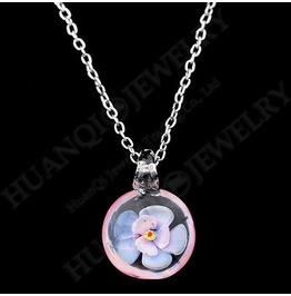 Enchanting Pretty Light Pink Glass Flower On Silver Metal Chain