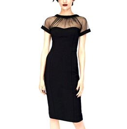 Elegant Black Net Design Dress Size Uk 12/14