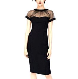 Elegant Black Net Design Dress Size Uk 12/14