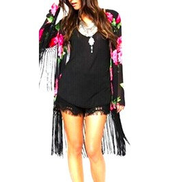 Pretty Black + Pink + Red Roses Kimono Design Long Sleeved Jacket Uk Size12