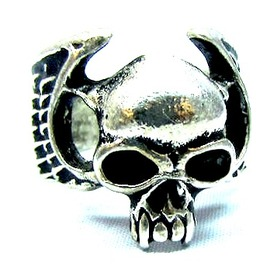 Cool Skull Head Design Tibetan Silver Ring Small