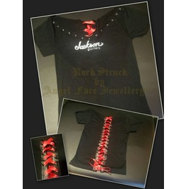 Rock Struck Hand Customised T Shirt Jackson Guitars (Uk Size 12 14)