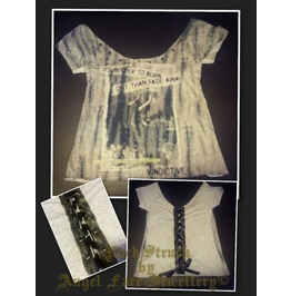 Rock Struck Hand Customised T Shirt Neil Young Style (Uk Size 10 12)