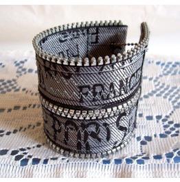 Handmade Paris Zipper Wrap Cuff Bracelet With A Secret Stash Pocket