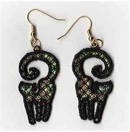 Handmade Lace Black Cat Earrings For Pierced Ears Spooky Cat Earrings
