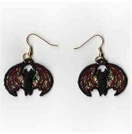 Handmade Lace Black Bat Earrings For Pierced Ears Vampire Bat Earrings