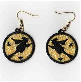 Handmade Lace Flying Witch Earrings For Pierced Ears Witch Flying Broom