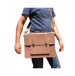 One Leaf Leather Attache Messenger Laptop Bag Bc Pro Light Brown / Tan