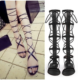 Women Strap Knee High Roman Gladiator Sandals Lace Up Cut Out Flats Boots