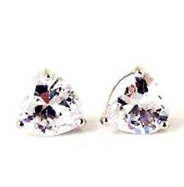 Enchanting Love White Crystal Heart Platinum Plated Earrings