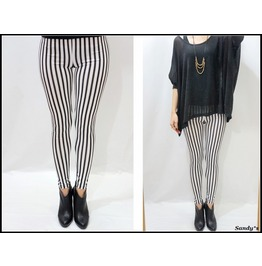 Black White Striped Leggings