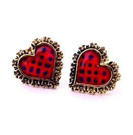 Valentine Red Blue Polka Dot Heart Shaped Bronze Colour Edge Stud Earrings