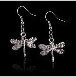 Cool! Tibetan Silver Dragonfly Design Earrings