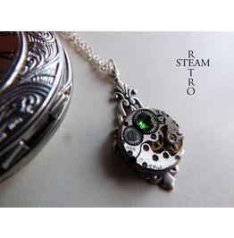 Art Deco Steampunk Fern Green Necklace Steampunk Jewellery