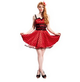 Voodoo Vixen Red Spotted Rockabilly Flare Dress