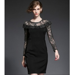 Vintage Long Lace Sleeves Round Neck Black Dress