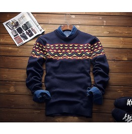 New Autumn Winter Mens Patchwork Sweaters Casual Slim Fit