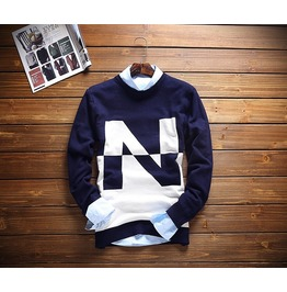 Stylish Autumn Winter Mens Patchwork Sweaters Casual Slim Fit O Neck Long