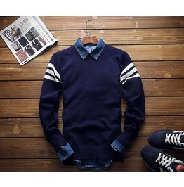 Navy Autumn Winter Mens Patchwork Sweaters Casual Slim Fit
