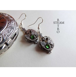 Steampunk Silver Green Earrings Steamretro Steampunk Jewellery