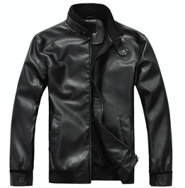 Men's Black/Brown Faux Leather Zip Up Winter Jacket