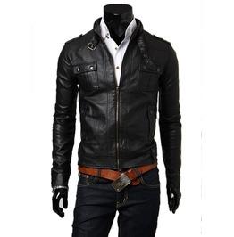 Men's Black/Brown Faux Leather Zip Up Jacket