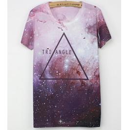 Triangle Space Galaxy Print T Shirt Purple Shirt Tee