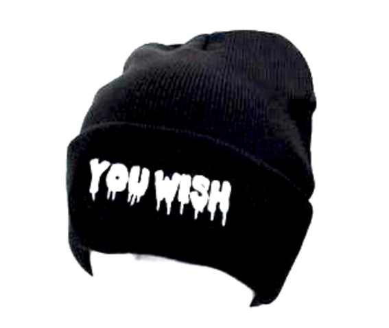 you_wish_black_beanie_hat_white_embroidered_drip_style_lettering_hats_and_caps_3.jpg