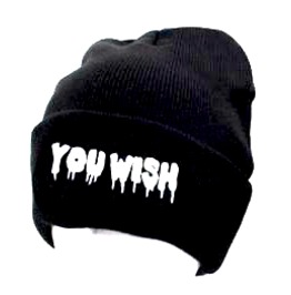 You Wish Black Beanie Hat White Embroidered Drip Style Lettering