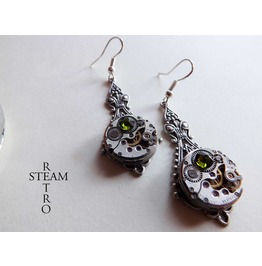 Green Steampunk Filigree Earrings Steampunk Earrings Victorian