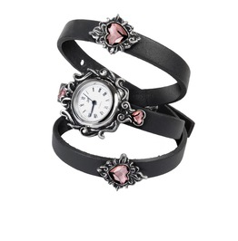 Heartfelt Ladies Gothic Watch With Real Leather Strap By Alchemy Gothic