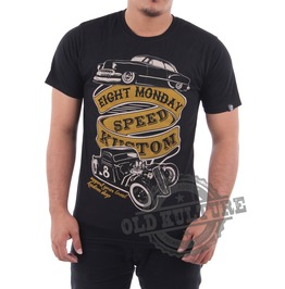 Eight Monday Rockabilly Men's Shirt Premium Cotton Custom Hot Rod Ford Em06