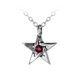 Crystal Pentagram Unisex Gothic Necklace By Alchemy Gothic