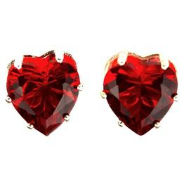 Valentine Beautiful Crystal Red Heart Shape Earrings