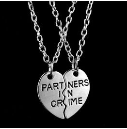 Silver Metal Partners In Crime Pendants On Silver Metal Chain